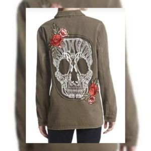 BoomBoom Olive Green Military Skull/Rose Jacket XL